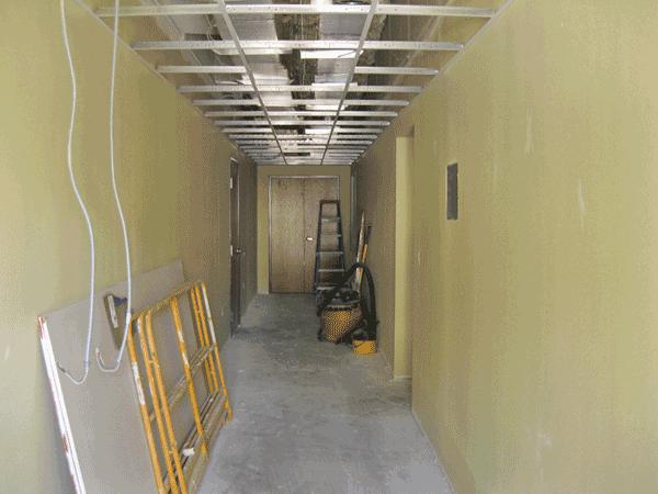 Hallway between buildings.